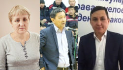 Leaders of the KNPRK: Larisa Kharkova, Amin Eleusinov, Nurbek Kushakbaev